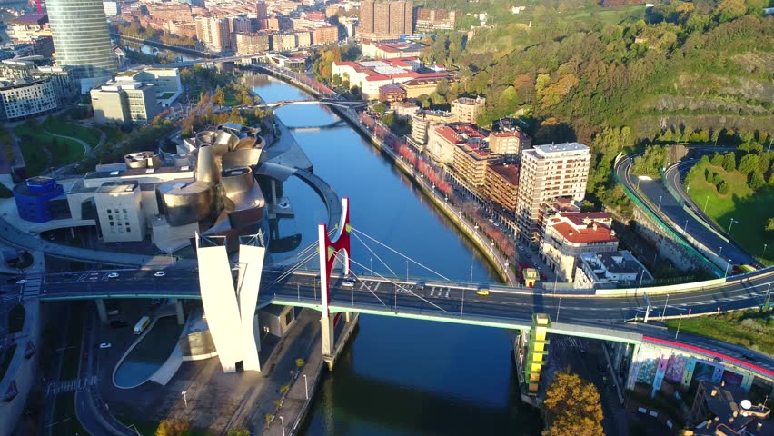 Flying above beautiful city Bilbao , aerial 4k