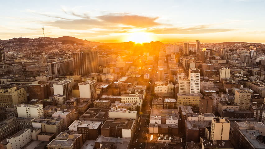 Time lapse of sunset in San Francisco from day to night