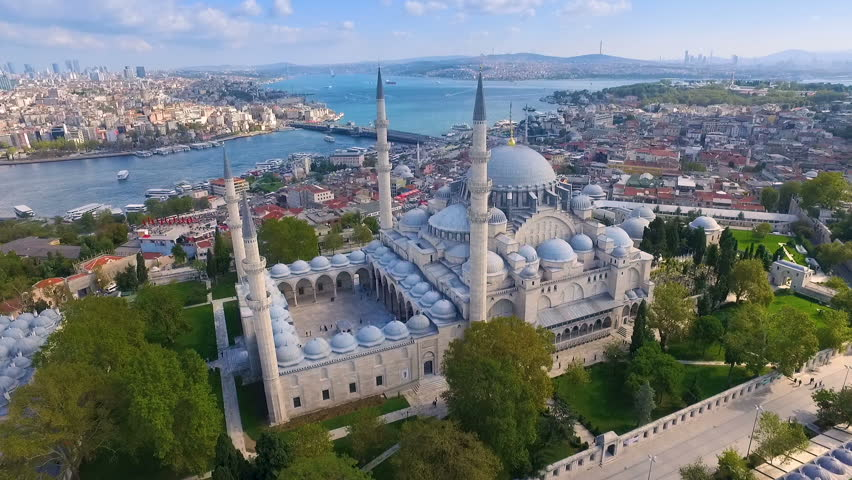Mystique Suleymaniye Mosque from the sky, aerial view of Istanbul city, Golden Horn, Turkey. | Shutterstock HD Video #32799415