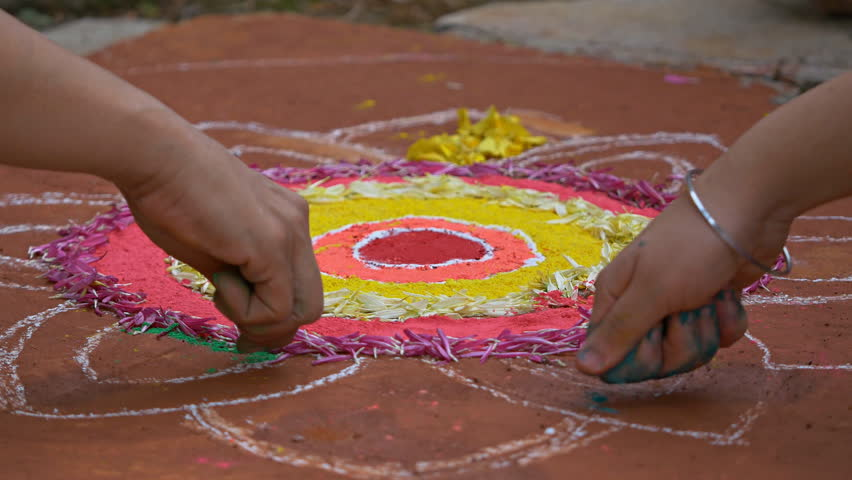 Making of Rangoli during Diwali festival Circa October 2017 Royalty-Free Stock Footage #32815570