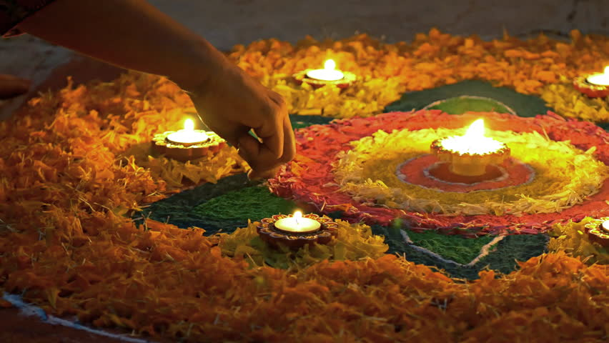 Making of Rangoli during Diwali festival Circa October 2017 Royalty-Free Stock Footage #32815594