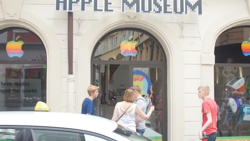 Prague, Czech Republic, May 15, 2017: Apple museum in Prague