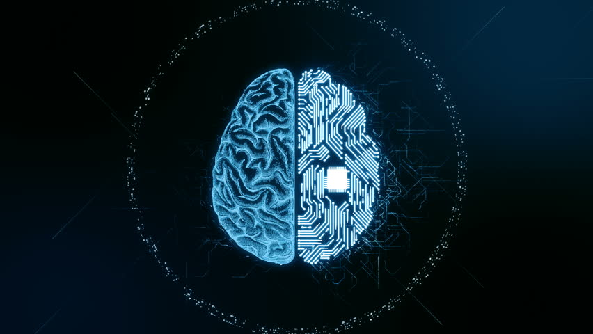 Artificial intelligence (AI) brain animation, data mining, deep learning modern computer technologies concepts. Brain representing artificial intelligence with printed circuit board (PCB) design. #32835481