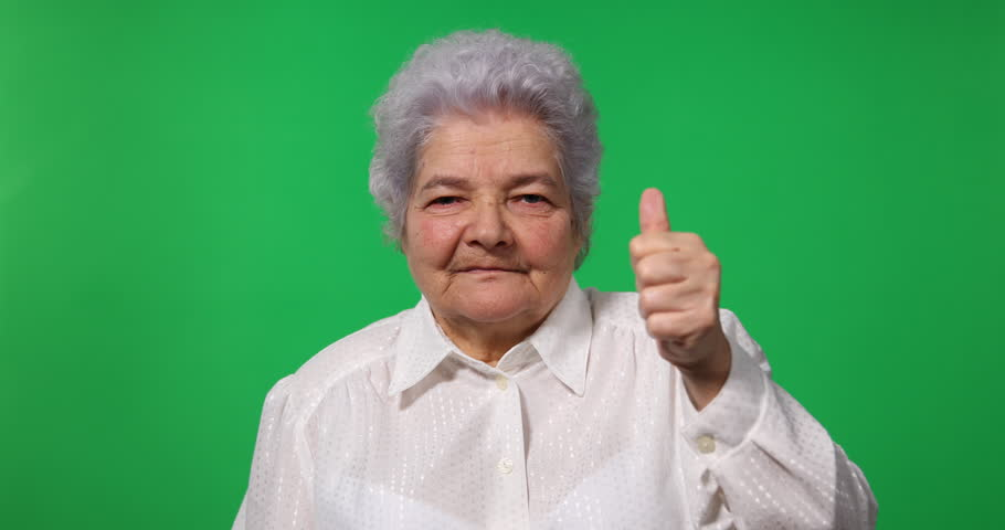 Elderly Business Woman Show Thumb Up Sign Gesture Camera Green Screen Background