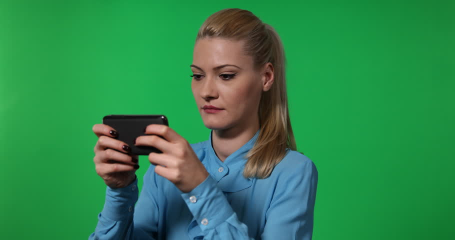 Business Woman Texting Sms Message with Mobile Phone Green Screen Background | Shutterstock HD Video #32842900