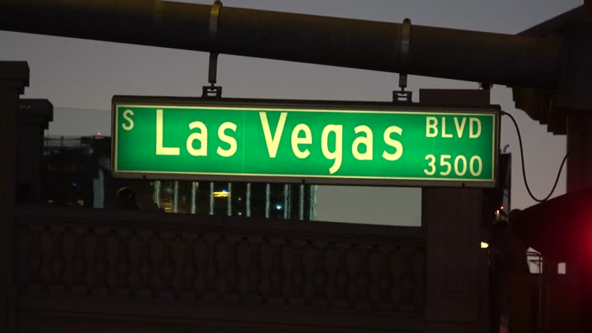 Street sign Las Vegas Boulevard by night - LAS VEGAS / NEVADA - OCTOBER 12, 2017 | Shutterstock HD Video #32843701