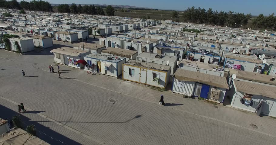Aerial shot of  syrian refugees camp in Sanliurfa, Turkey.