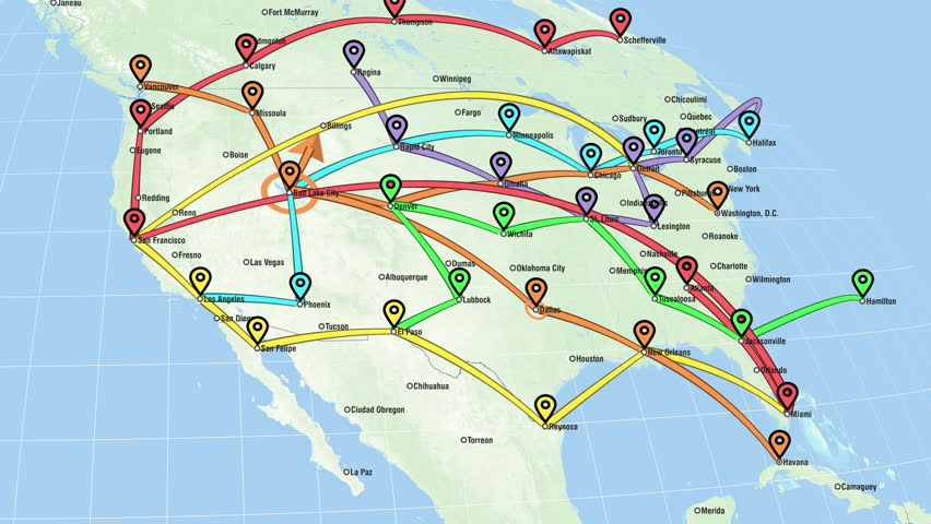 Localization, GPS Navigation, Traveling, Pathfinding over the North America. Global Communications - Destinations all over the World. #32865040