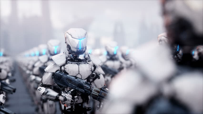 Invasion of military robots. Dramatic apocalypse super realistic concept. Future. 4k animation. | Shutterstock HD Video #32877247