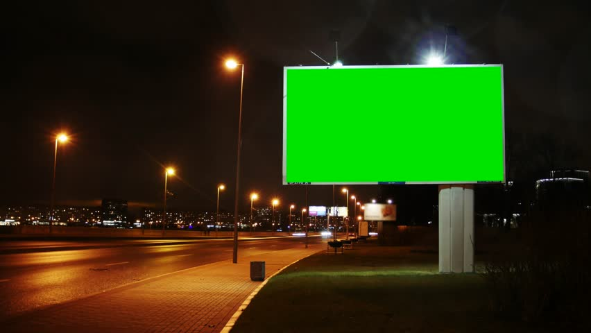 Time Lapse . Billboard with a Green Screen on the Busy Roadway. | Shutterstock HD Video #32881105