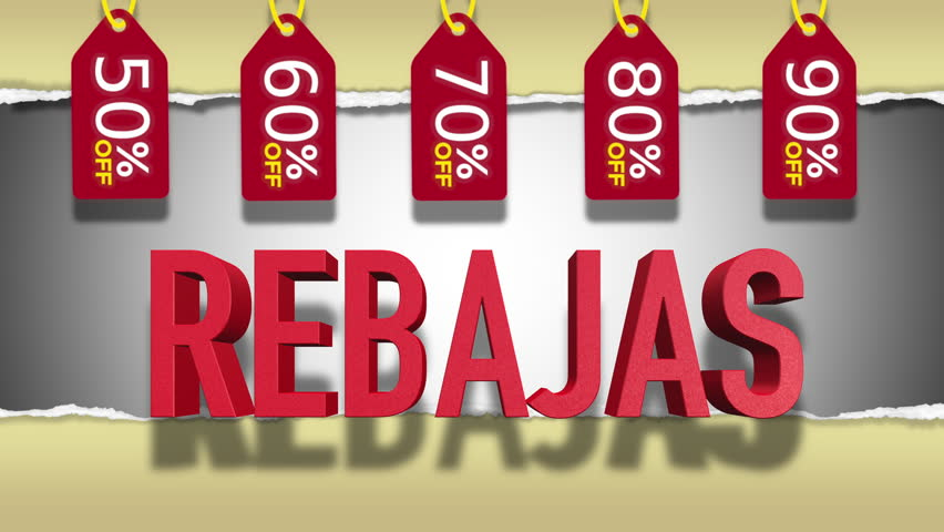 Rebajas Red Text : Rebates (Sales) Word in Spanish, 3D Text Animation With Animated Red Discount Tags With Different Percentages - 4K Resolution Ultra HD
