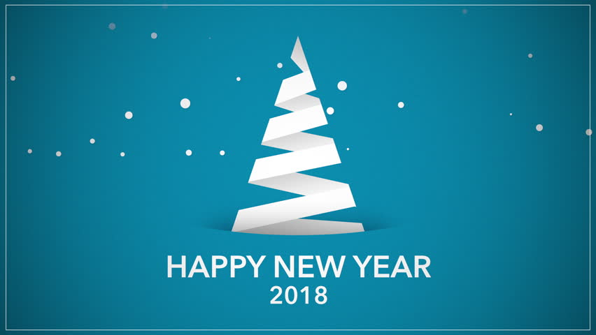 Happy New Year 2018 text, animated footage in 4K. White Christmas tree on blue background. Luxury and elegant dynamic style template in video format 3840x2160 | Shutterstock HD Video #32895214