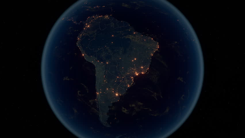 Zoom to South America. The Night View of City Lights. World Zoom Into South America - Planet Earth. Political Borders of South American Countries.  Super Detailed Space View Earth Zoom. Royalty-Free Stock Footage #32899825