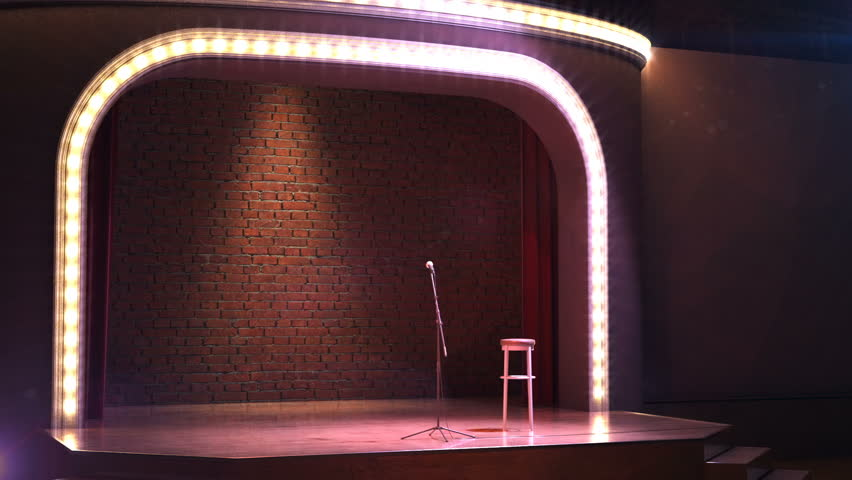 3D Animation. Vintage microphone on empty comedy club stage