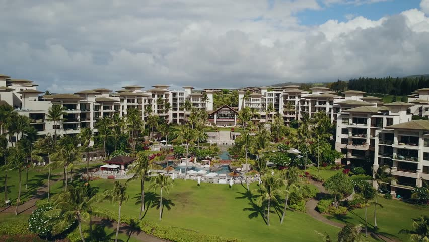 Fly over the biggest Hawaiian resort and palm park around it | Shutterstock HD Video #32907589