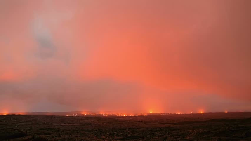 Lava milky way dark sky storm time lapse Night Glowing Hot flow from Kilauea Active Volcano Puu Oo Vent Active Volcano Magma