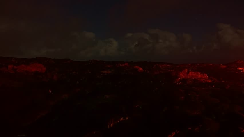 Lava pan flowing time lapse Night Glowing Hot flow from Kilauea Active Volcano Puu Oo Vent Active Volcano Magma