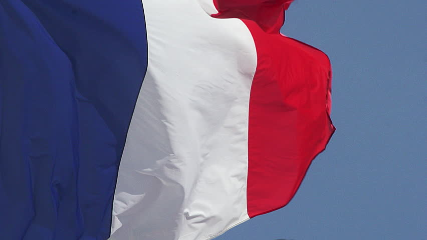French Flag Waving in the Wind, Caen City in Normandy, Slow Motion