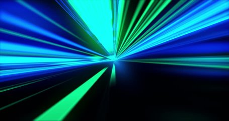 Loop Speed motion on the road. VJ Looped video. Green and blue Retro Neon background. Glowing lasers. Motion Graphic backdrop. Speed motion on the neon glowing road at dark.