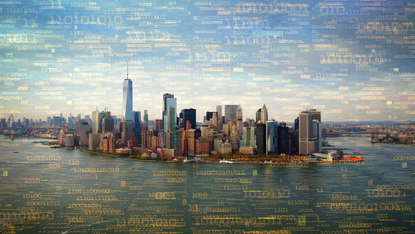 Big data over New York aerial shot. Futuristic city where every building, appliance, device and person is connected, forming a computer network  Perfect to illustrate: internet of things, smart cities | Shutterstock HD Video #32947363