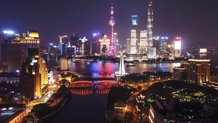 Aerial hyperlapse video of Shanghai at night