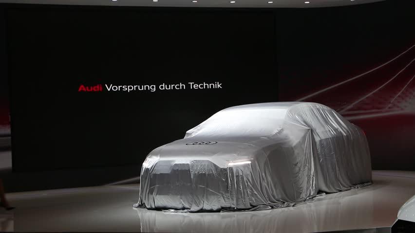 DUBAI, UAE - November 14: Audi A8 L 2018 unveiling ceremony during Dubai Int'l Motor Show 2017 at Dubai Int'l Convention and Exhibition Centre in Dubai, United Arab Emirates.