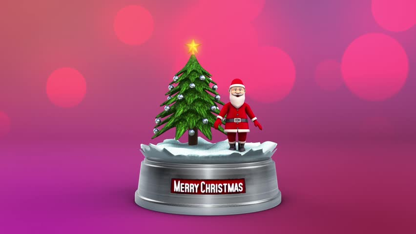 Santa Claus Dance Christmas Tree Loop Animated Background 3D Rendering Animation | Shutterstock HD Video #32967925