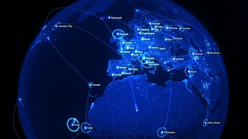 Global Connections over North Hemisphere. Global Communications - Destinations all over the World. Global Communications through the Network of Connections. Arrows fly between Cities.
