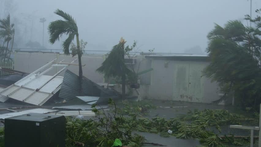 San Juan, Puerto Rico - September 2017: Hurricane Maria wind fury destroys house ceiling