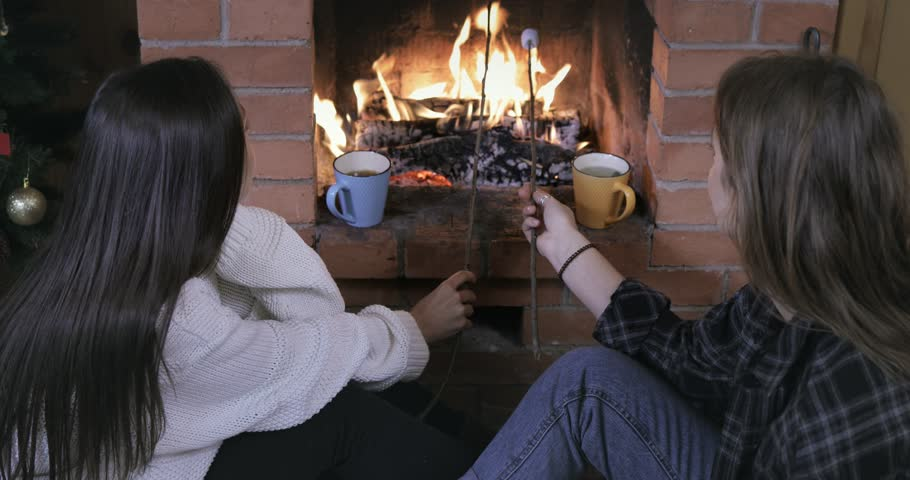 Two friends or sisters frying marshmallows and eating, laughing, talking near brick fireplace | Shutterstock HD Video #33021037