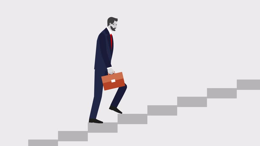 Go up concept, Career ladder, Businessman with suitcase climbing the stairs of success.  Concept for successful business, professional growth, career achievements. footage