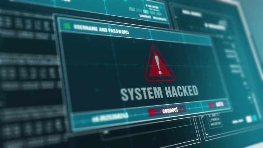 Computer Screen Entering Login And Password With Showing SYSTEM HACKED Alert System Security Warning .  | Shutterstock HD Video #33042442