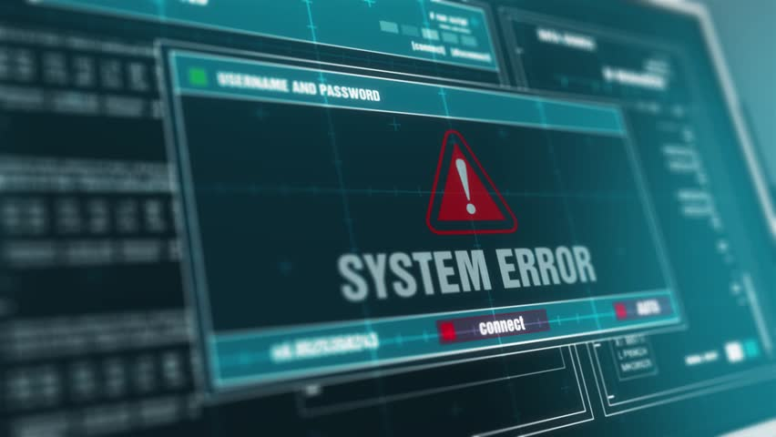 Computer Screen Entering Login And Password With Showing System Error Alert System Security Warning .