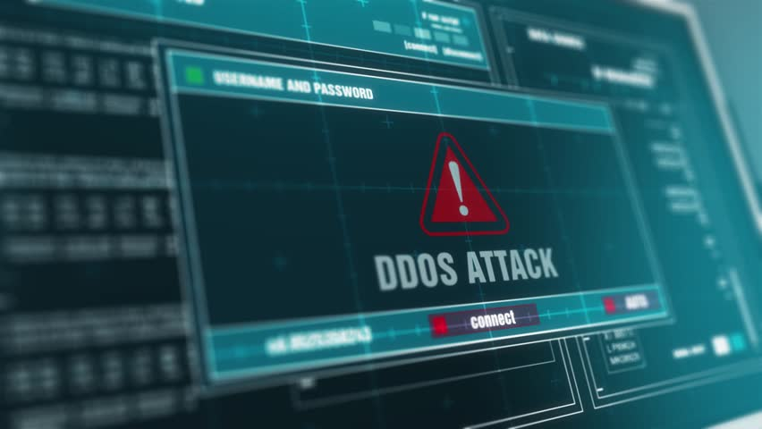 Computer Screen Entering Login And Password With Showing ddos attack Alert System Security Warning .