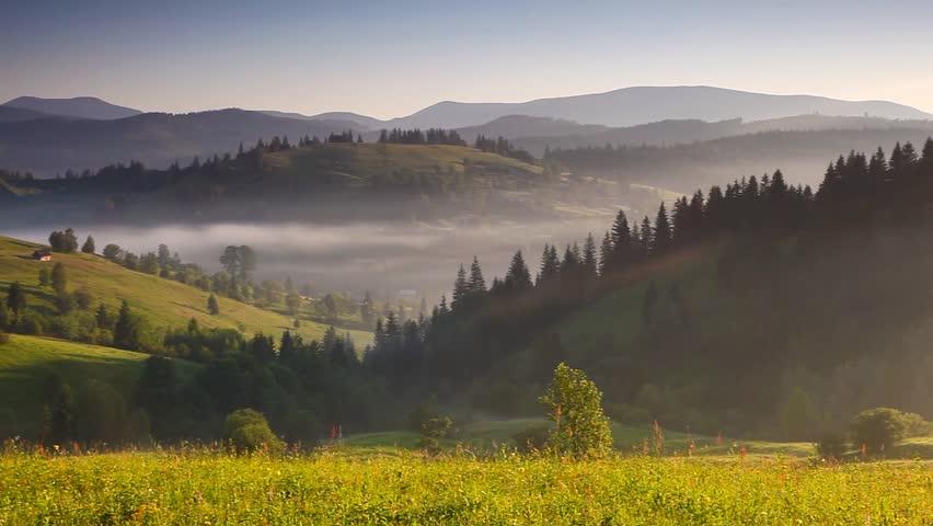 Majestic sunset in the mountains landscape. Carpathian, Ukraine. HD video (High Definition) #3305885