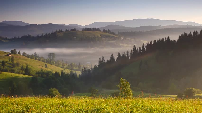 Majestic sunset in the mountains landscape. Carpathian, Ukraine. HD video (High