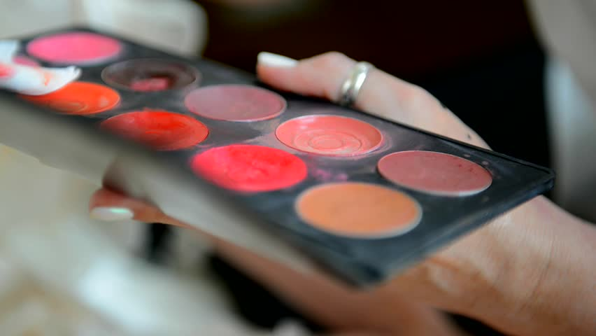 Professional makeup artist working with a palette of colors. The job of beautician with the client.    Shutterstock HD Video #33078430
