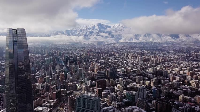 Beautiful aerial view of Santiago of Chile and Andes mountains after the historical snowfall occurred in June of 2017