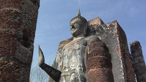 Buddha Statue at the Ruins of Wat Saphan Hin at the Historical Park of old Sukhothai