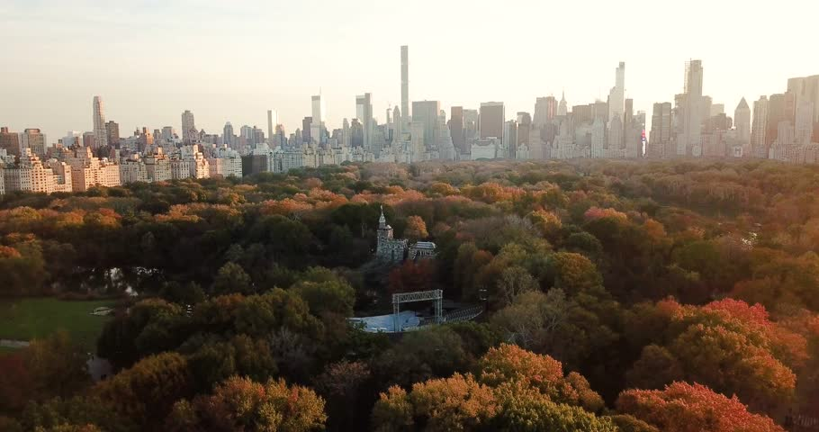 New York panorama from Central park at sunset aerial view