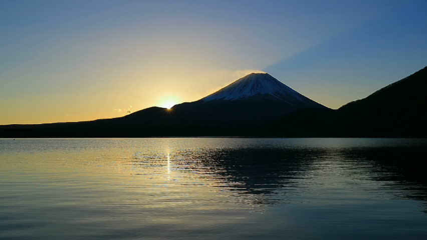 Sunrise and Mt. Fuji from Lake Motosu Japan 11/24/2017  | Shutterstock HD Video #33113386