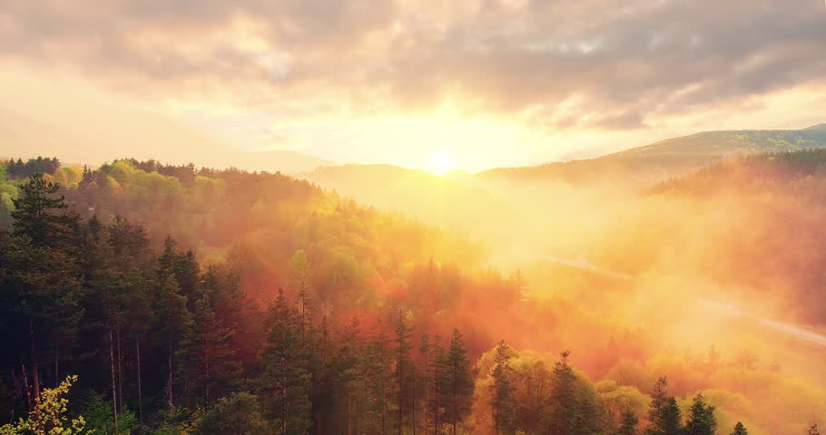Epic Aerial Flight Over Mist Forrest Sunset Colorful Autumn Trees Golden Hour Sunset Colors Epic Glory Inspiration Hiking And Tourism Concept #33117256