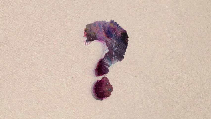 Grunge watercolor drawn question mark sign cartoon stop motion animation on paper background seamless loop - new dynamic joyful stop motion video art school science footage