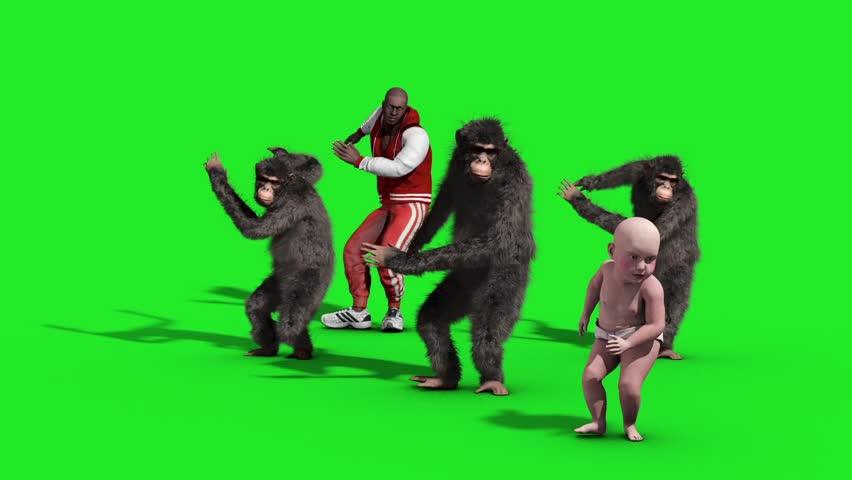 Group Chimpanzee Man Baby House Dance Dancer Green Screen 3D Rendering Animation Animals | Shutterstock HD Video #33134881