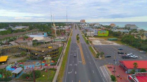 PANAMA BEACH, FL, USA - NOVEMBER 12, 2017: Aerial Panama Beach FL a popular tourist and Spring Break destination