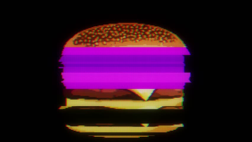 drawn marker pixel burger glitch cartoon handmade animation seamless loop lcd screen background ... New quality universal vintage stop motion dynamic animated colorful joyful cool video footage #33143785