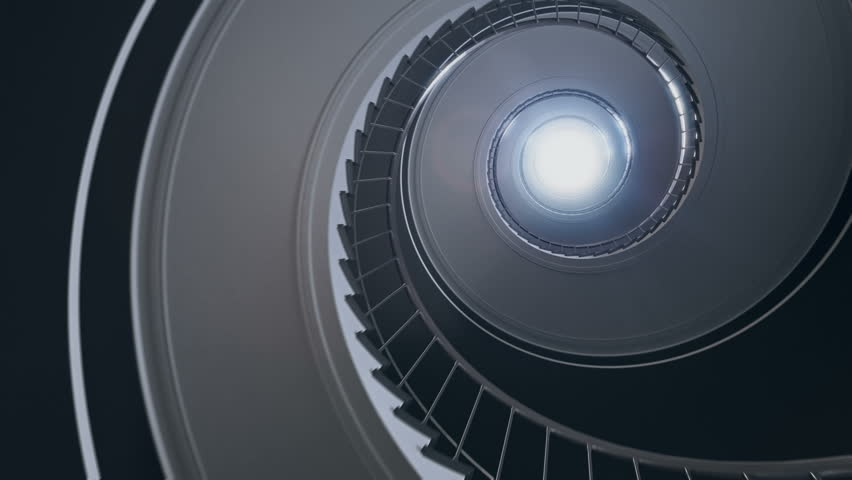 Spiral stair to the light. Seamless loop. 4k rendering. | Shutterstock HD Video #33144304