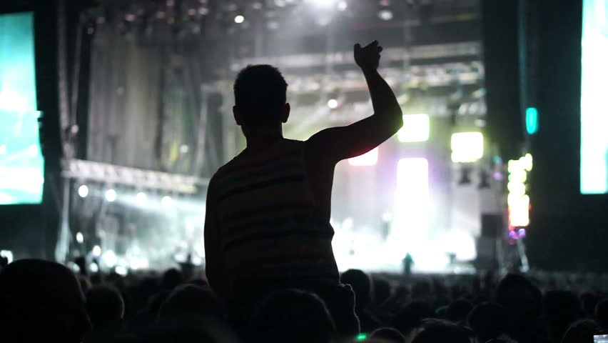 Shot of some cheering fans at a life concert, slow motion, some visible noise due high ISO, soft focus, also normal speed version of this video available in my portfolio | Shutterstock HD Video #3316043