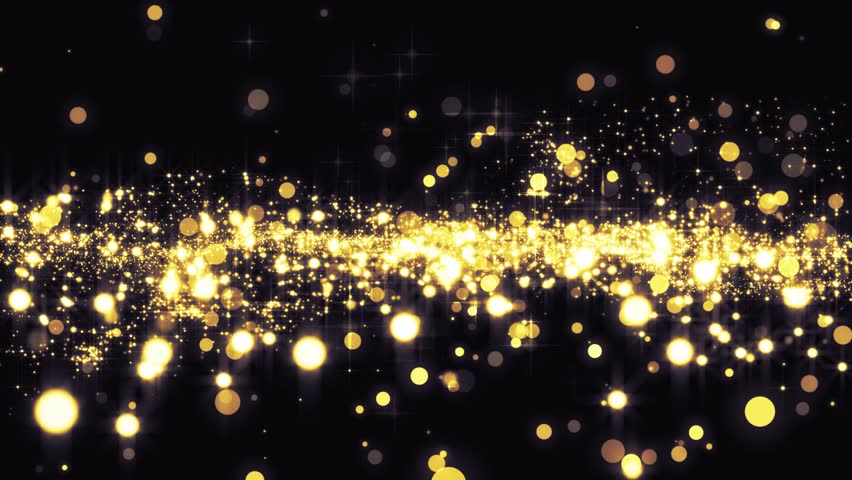 Lights gold bokeh background. Elegant golden abstract. Disco background with circles and stars. Christmas Animated background. Space background. Seamless loop. #33173164