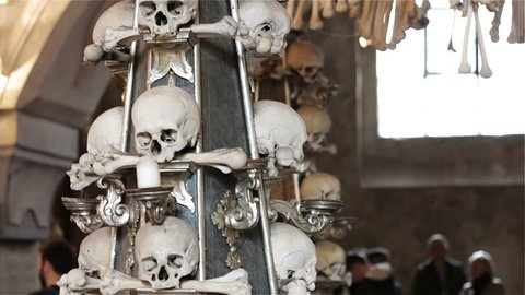 Kutna Hora, Czech Republic - October 2017: Skulls and bones in the ossuary in Kutna Hora. Sedlec Ossuary